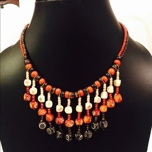 Multi colored Bone Beaded Necklace